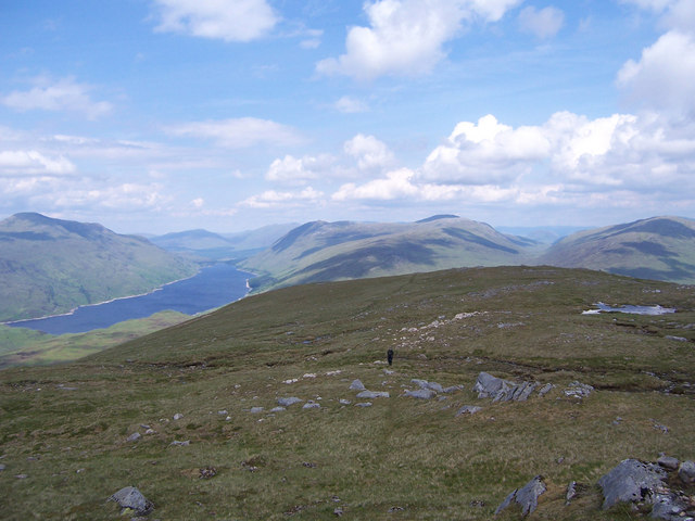 Gentle grassy slopes just below the summit of Beinn a' Bhric
