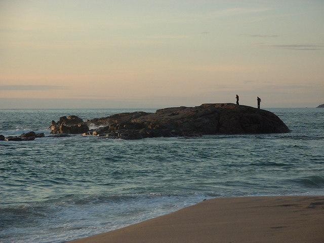 Sandwood Bay - Rocks at High Tide