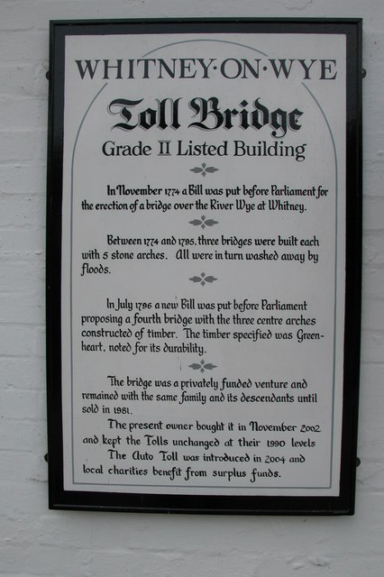 Information on the Whitney-on-Wye toll bridge