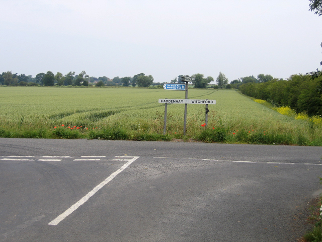 Road junction in Grunty Fen, Cambs