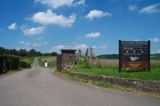 Entrance to Clatworthy Reservoir car park and picnic area