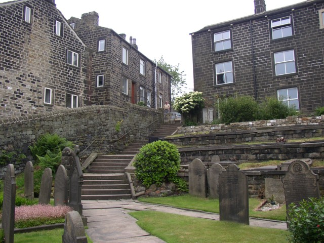 Steps down to the Methodist Chapel, Heptonstall