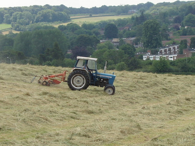 Tractor turning hay, near Great Missenden