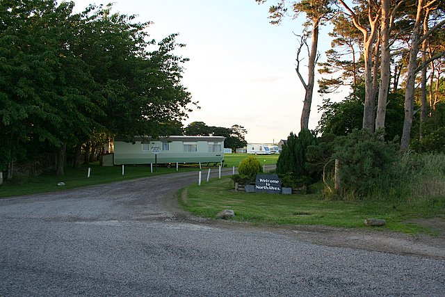 The caravan site at North Alves, Morayshire.