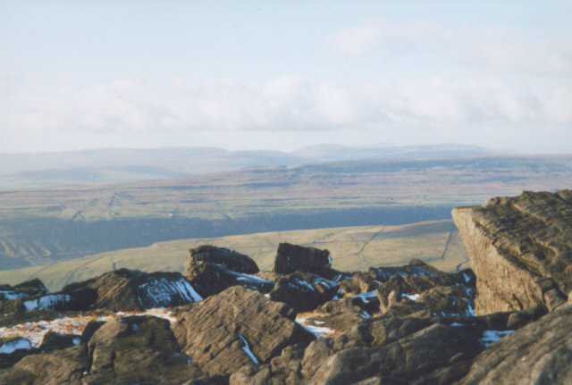 rocks at summit of Great Whernside