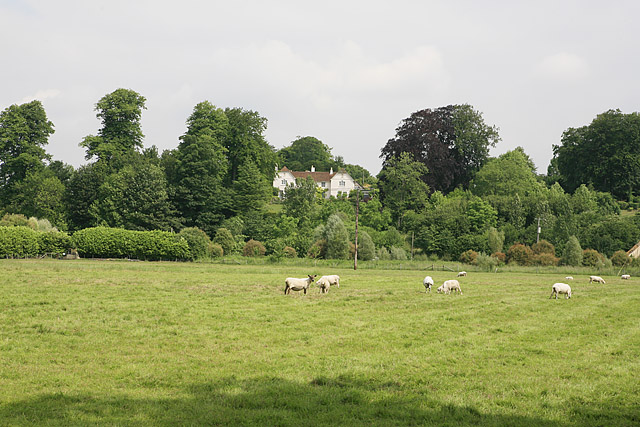 View across Ebble valley to Homington House, Coombe Bissett