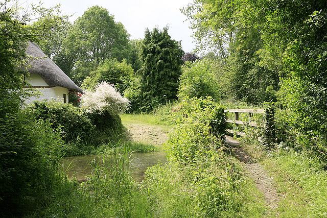 Footbridge & ford across River Ebble, Stockbridge Cottage, Coombe Bissett
