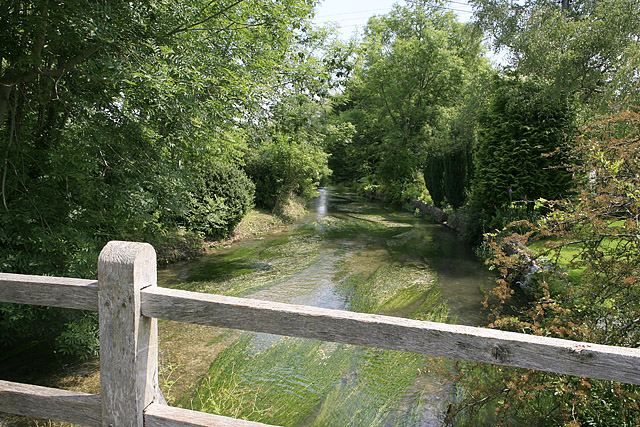 River Ebble seen from footbridge at Coombe Bissett