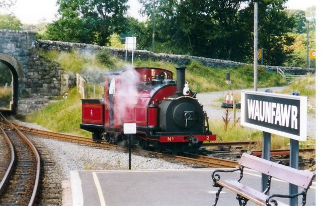 The Welsh Highland Railway at the north end of Waunfawr Station