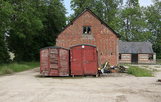 Railway trucks used as storage at Dogdean Farm, nr Homington