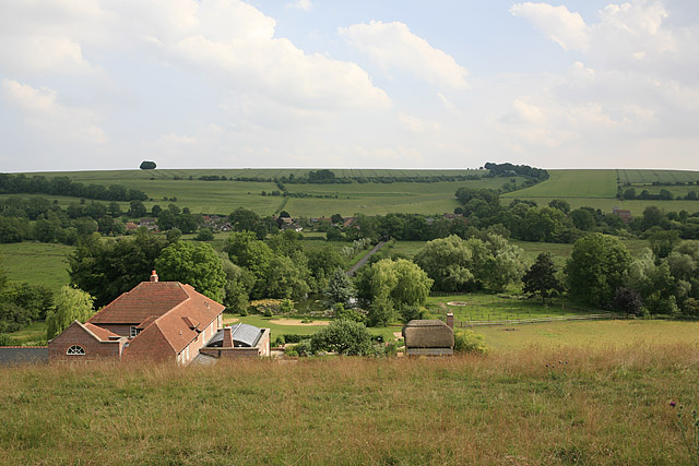View from footpath above Homington Down house