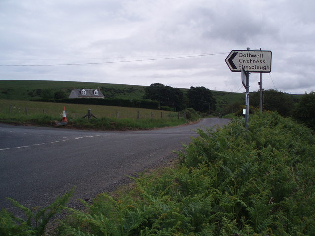 Minor road junction near Cranshaws Smiddy