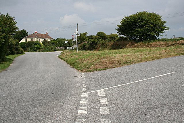 Road Junction by Little Rame Farm