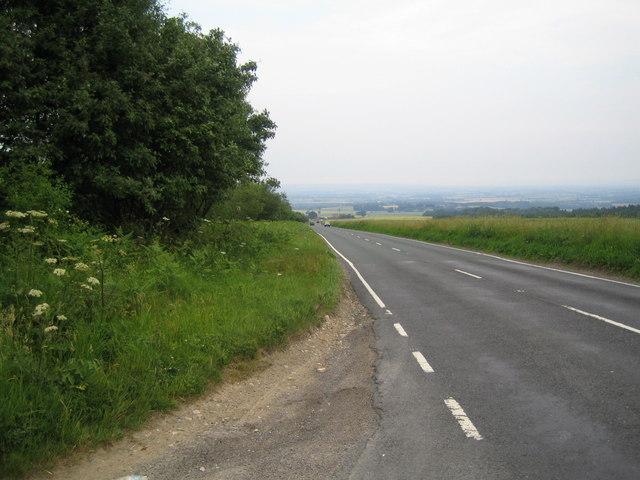 View down Cote Lane (A170) towards Helmsley