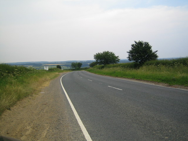 View down the A170 one mile south of Helmsley