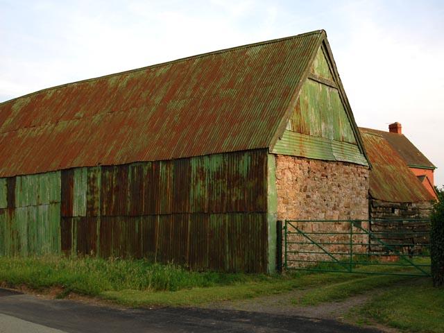 Corrugated barn at Lea Cross