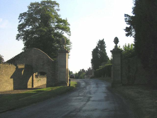 Gated entrance to Weston Underwood