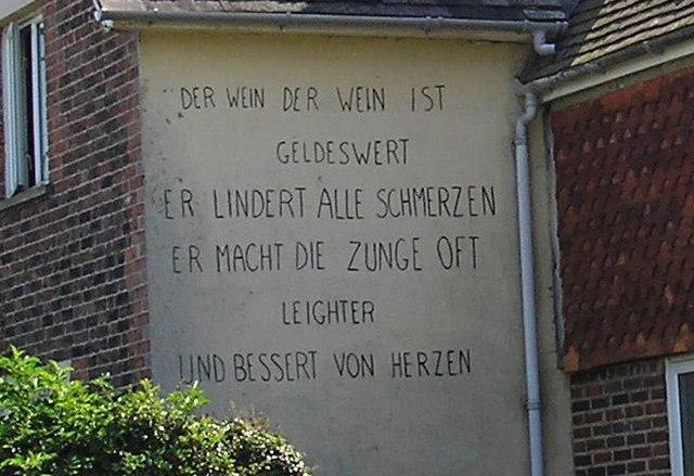 German inscription on cottage, Moor Lane