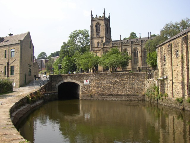 The canal tunnel and Christ Church, Sowerby Bridge