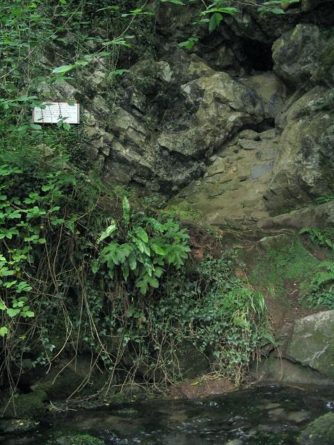 Blocked cave entrance above Llygad Llwchwr