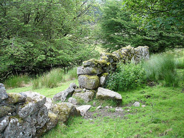 Dry stone wall near Two Bridges