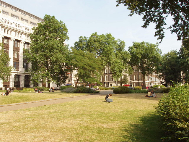 Bloomsbury Square Gardens and Victoria House, London