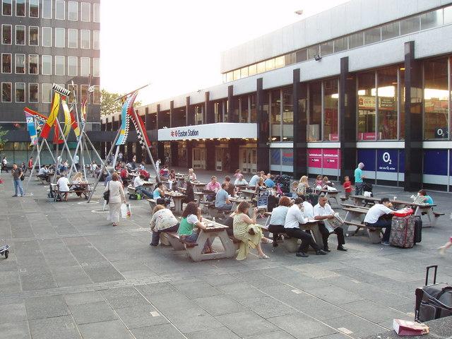 Euston station forecourt, hot summer evening