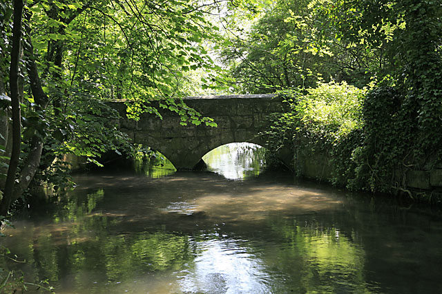 Bridge over River Ebble south of church at Bishopstone