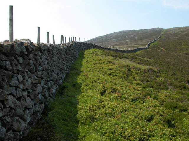 Dry stone wall on the southern slopes of Garnedd-goch
