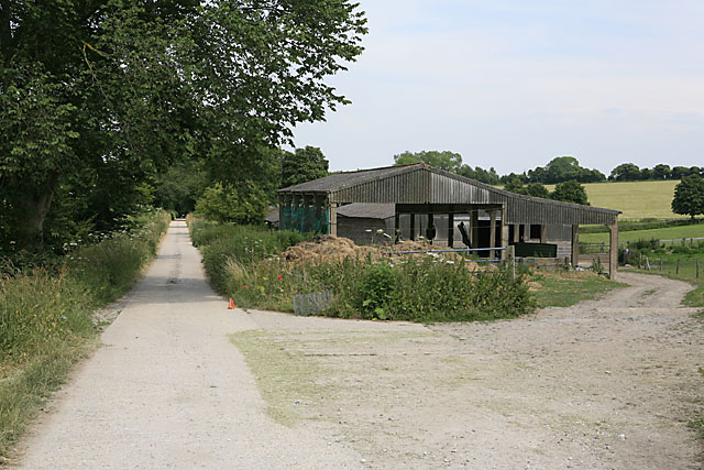 Farm buildings and footpath to Throope Manor House
