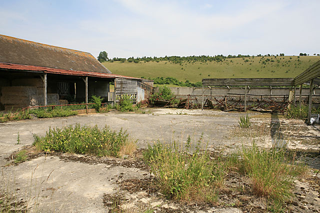 Farm buildings below Throope Hill