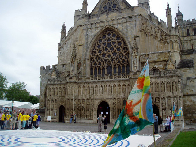West Front of Exeter Cathedral in June