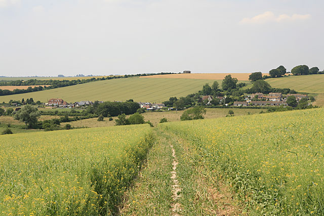 View of Bishopstone from footpath on Faulston Down