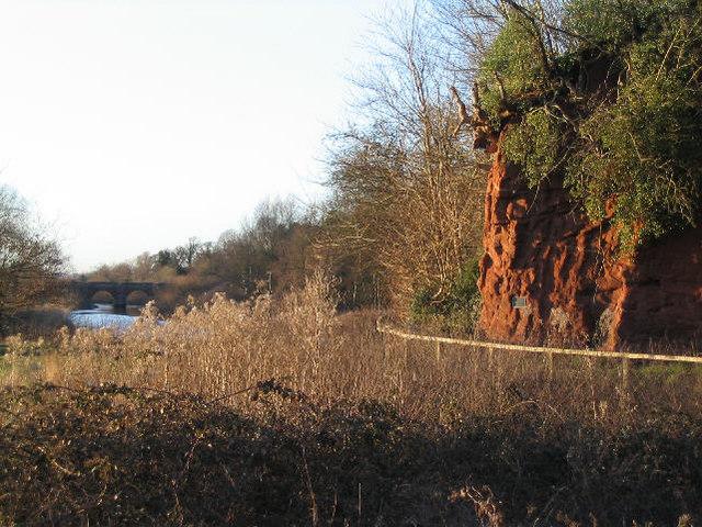 Farndon Bridge and Sandstone Cliff
