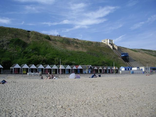 Beach huts and cliff lift at Fisherman's Walk