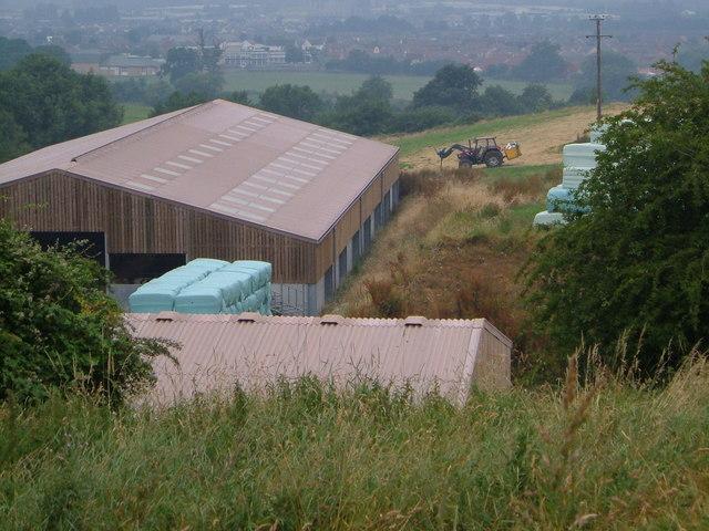 New barns below Maiden Hill