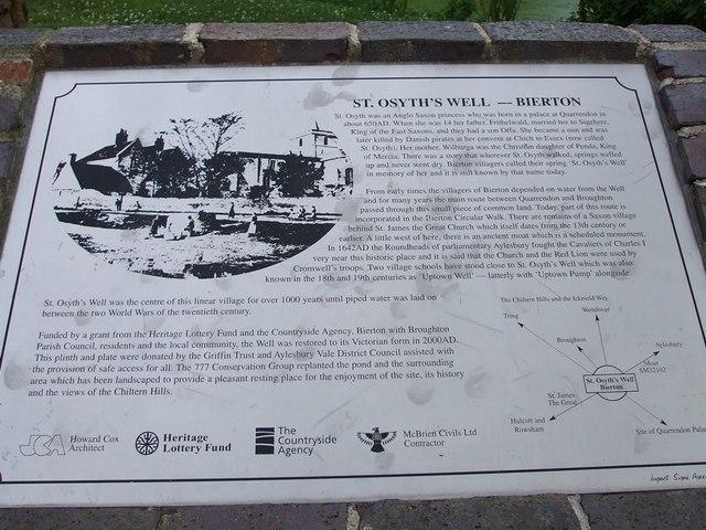 Information Board - St. Osyth's Well, Bierton