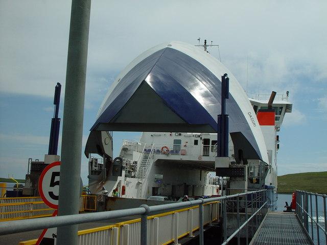 The ferry 'Daggri' at Toft Pier, Shetland