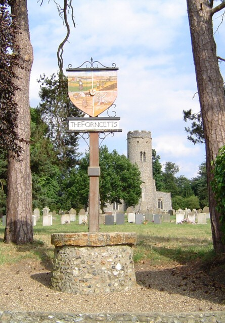 St Peter's Church and Village sign, Forncett St Peter