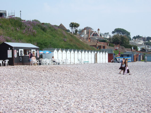 Beach huts at Budleigh Salterton.