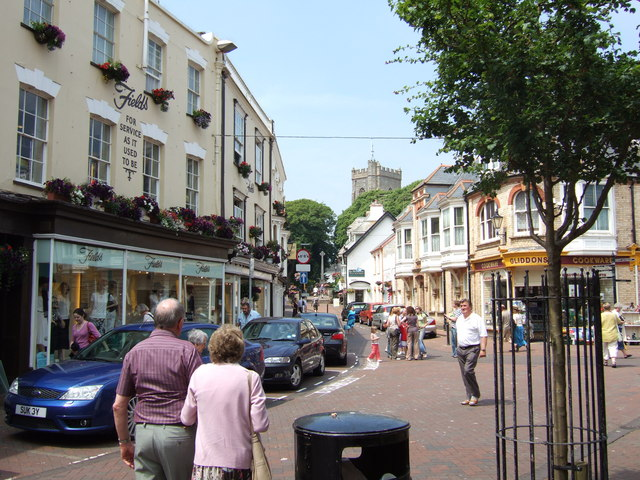Shopping street just off the seafront at Sidmouth.