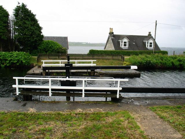 Crinan Canal lock gate  at Ardrishaig.