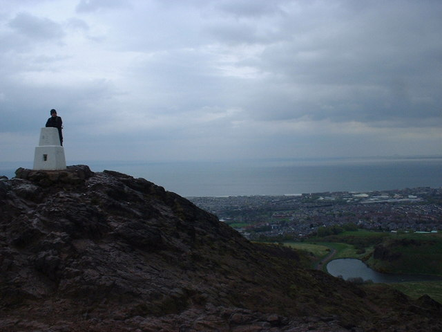 Arthur's Seat Trig Point with Dunsappie Loch in the background