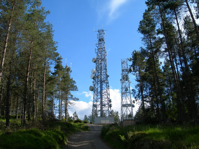 Radio masts on Dunain Hill