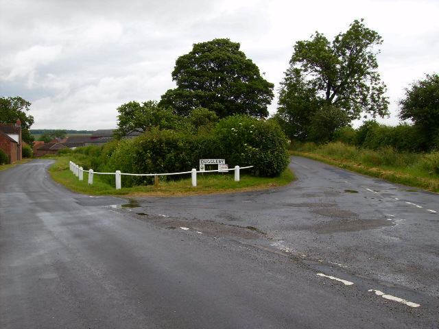 Split road junction leading into Duggleby