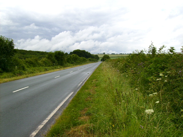 The B1248 road 2 Km north west of Wetwang