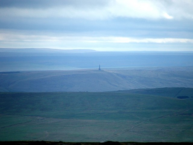 Stoodley Pike Monument as seen from Boulsworth Hill.