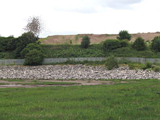 Reclaimed land and tip at New Ferry