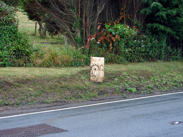 Milepost at Rhowniar on A493 Road