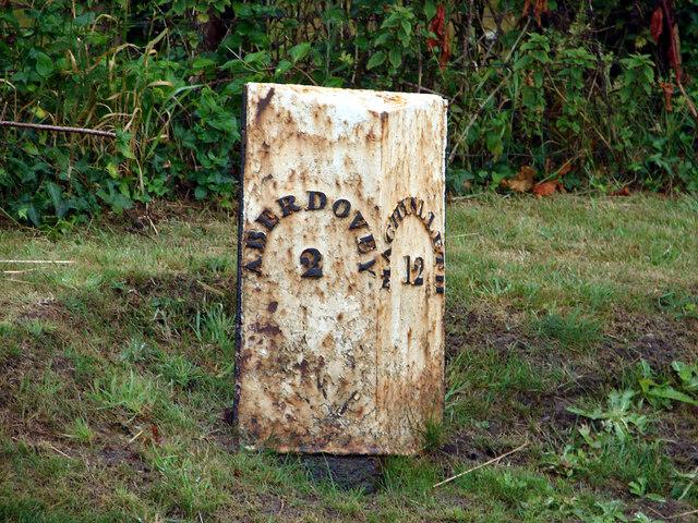 Milestone at Rhowniar on A493 Road